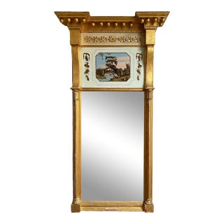 Early 19th Century Giltwood églomisé Mirror With Scenic Reverse Painting on Glass For Sale