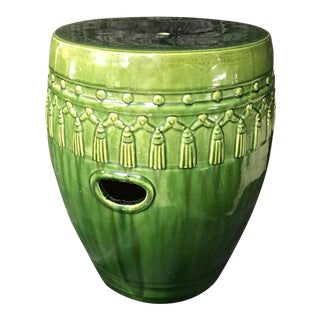Green Glaze Tassel Garden Stool For Sale