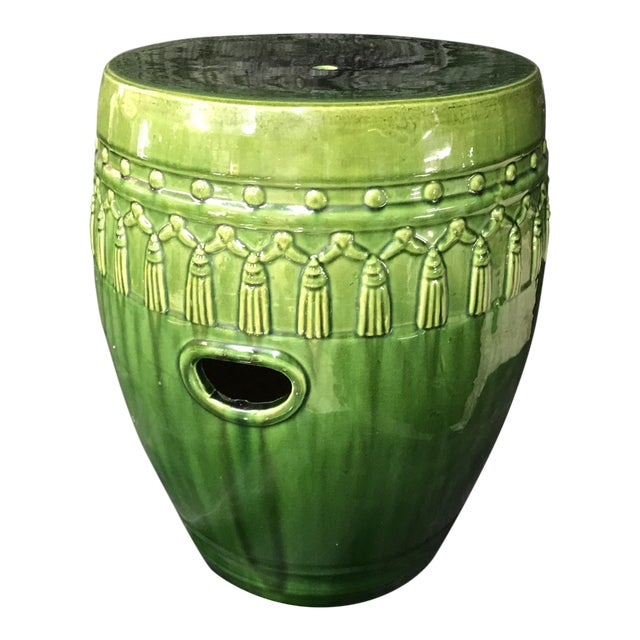 Green Glaze Tassel Garden Stool - Image 1 of 8