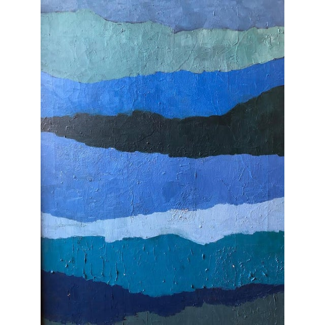 "Abstract ""Shades of Blue"" Oil Painting on Canvas For Sale In Seattle - Image 6 of 9"
