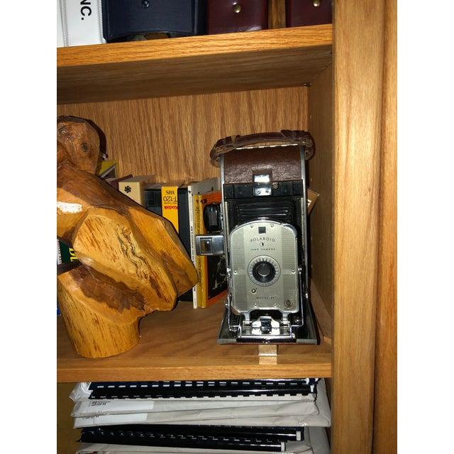 1950s Early Large Polaroid Camera Circa 1948-1959 Iconic Rare Display Camera on Polished Travertine Stone Base For Sale - Image 5 of 13