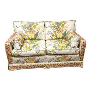 1970s Hollywood Regency Ethan Allen Floral Loveseat For Sale
