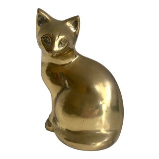 Mid 20th Century Brass Cat For Sale