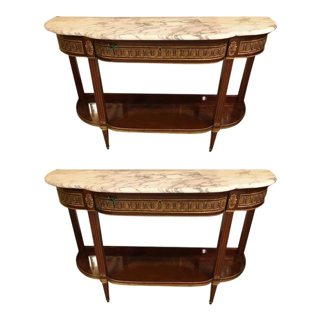 Jansen Style Marble-Top Bronze Mounted Consoles - a Pair For Sale - Image 12 of 12
