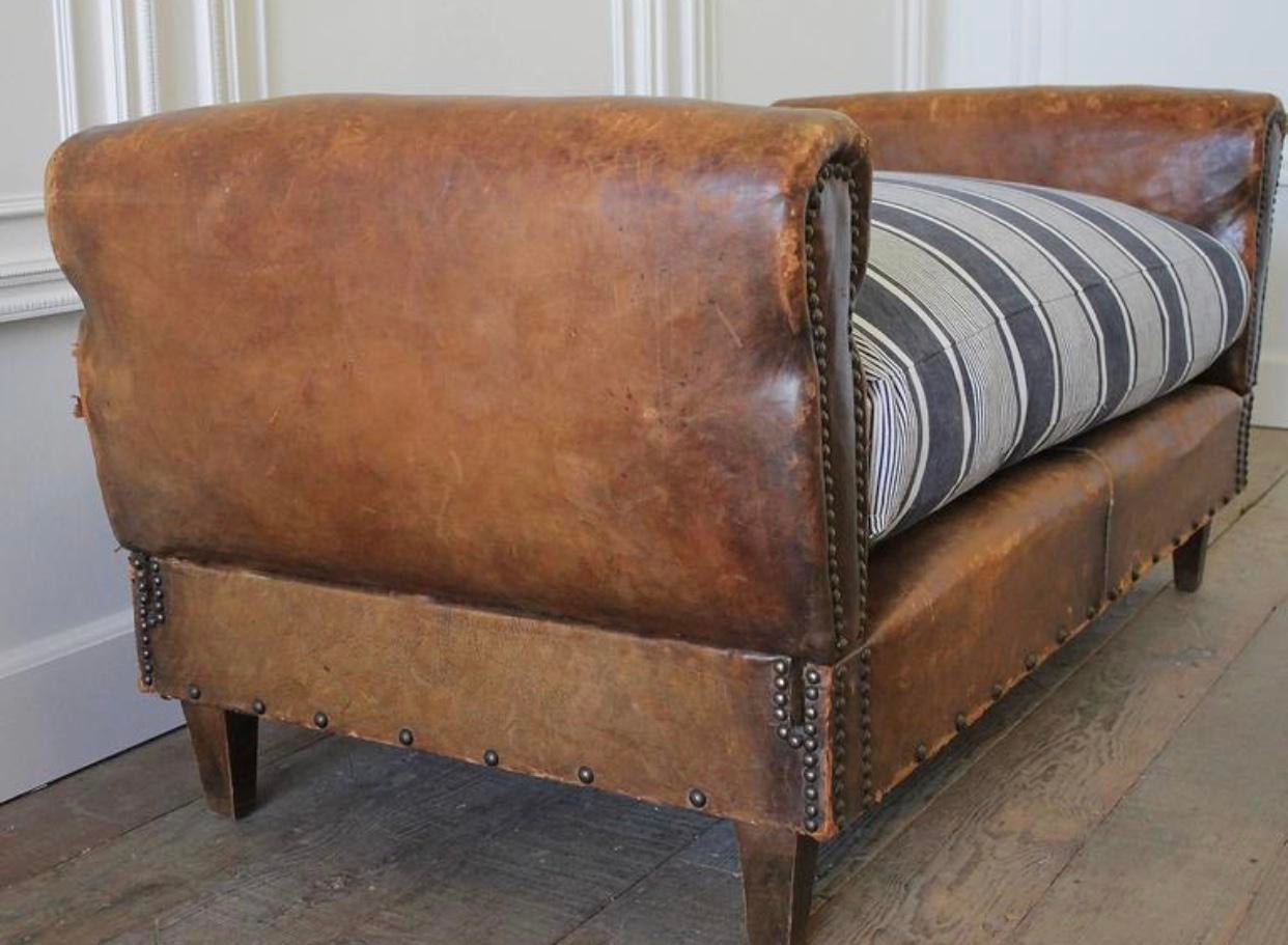 Antique French Leather Drop Arm Daybed Sofa With French Mattress Ticking    Image 5 Of 10