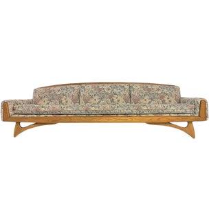 1960s Mid-Century Modern 9 Ft. Gondola Sofa With Oak Frame For Sale