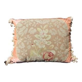 19th Century Antique French Needlepoint Silk & Velvet Pillow For Sale