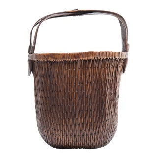 Early 20th Century Chinese Bent Handle Willow Basket For Sale