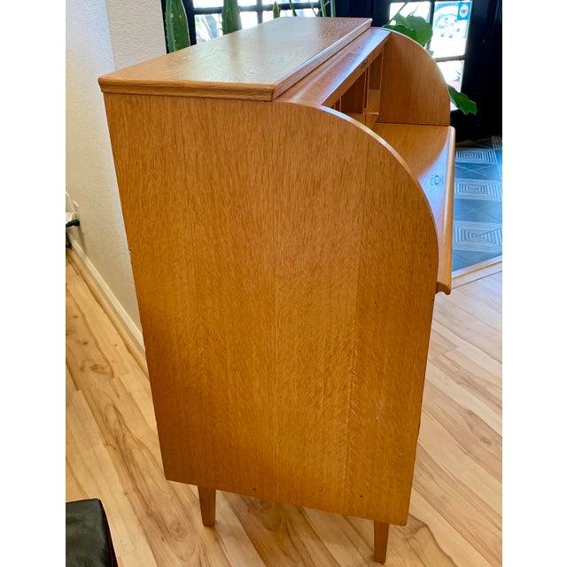 1960s 1960s Swedish Modern Teak Rolltop Desk For Sale - Image 5 of 13
