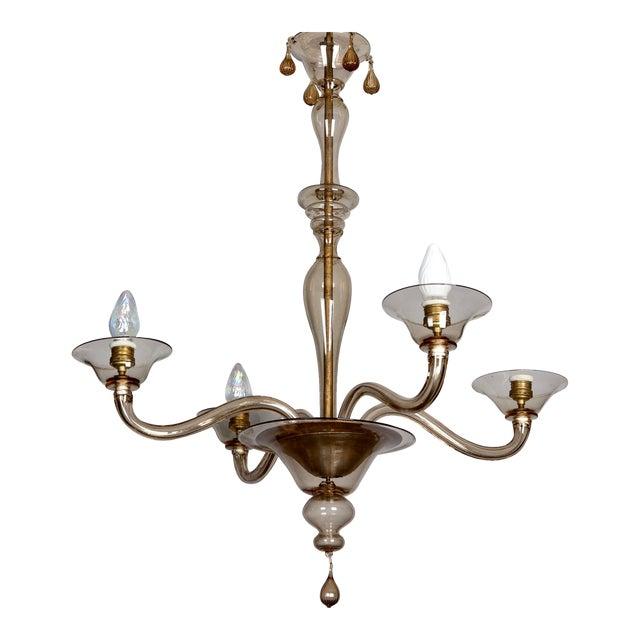 Italian Mid Century Venini Amber Murano Glass Chandelier - Image 1 of 6