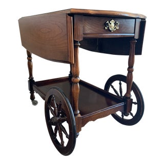 Antique Cherry Finished Folding Tea Cart/Rolling Bar Cart For Sale