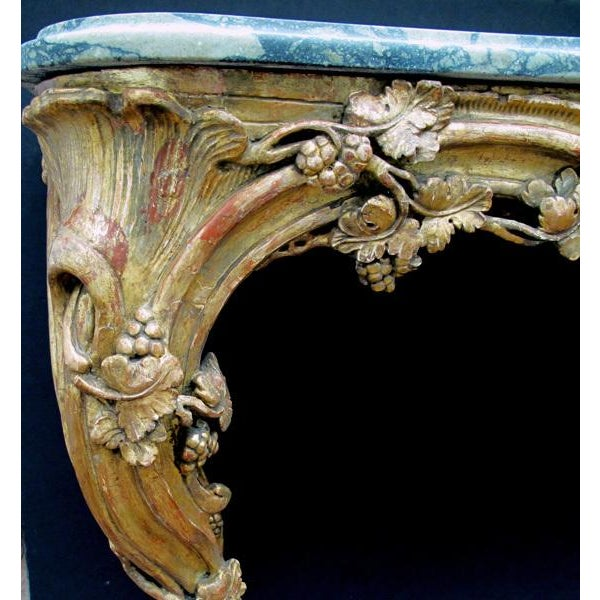 Rococo A Finely Carved Venetian Rococo Giltwood Console with Marble Top For Sale - Image 3 of 7