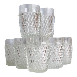 Pressed Glass Patterned Rocks Glasses- Set of 8 For Sale