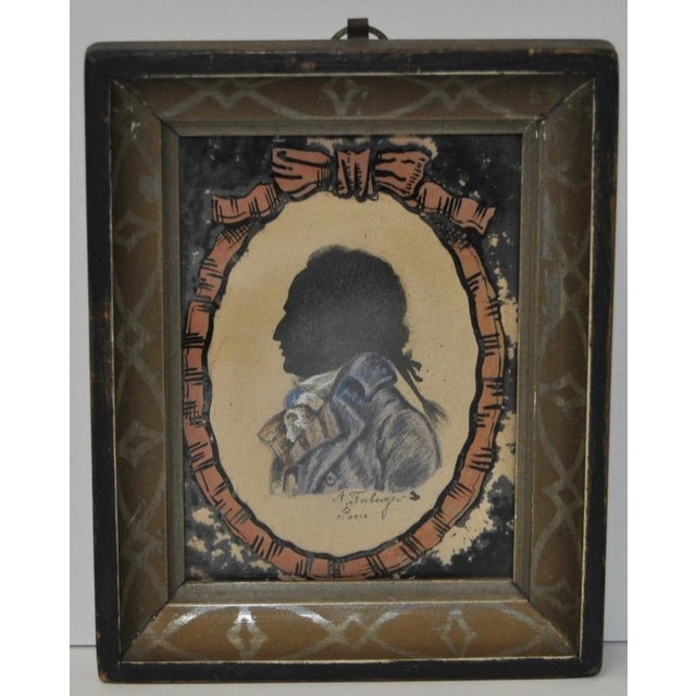 18th century reverse painted silhouette portrait of a gentleman. Painted in Paris by Farberger Some paint loss to the...