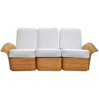 Restored Art Deco Rattan Fan Arm Three-Seat Sofa, Rare