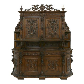1800s Antique Continental Carved Walnut Sideboard For Sale