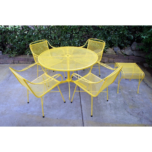 Mid-Century Modern Mid Century Modern Buttercup Yellow Wrought Iron Patio Dining Set- 6 Pieces For Sale - Image 3 of 13