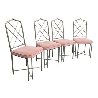 Mid Century Brutalist Faux Bamboo Metal Dining Chairs- Set of 4 For Sale