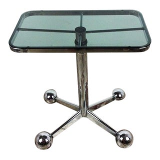 Vintage Italian Chrome and Smoked Glass Side Table For Sale