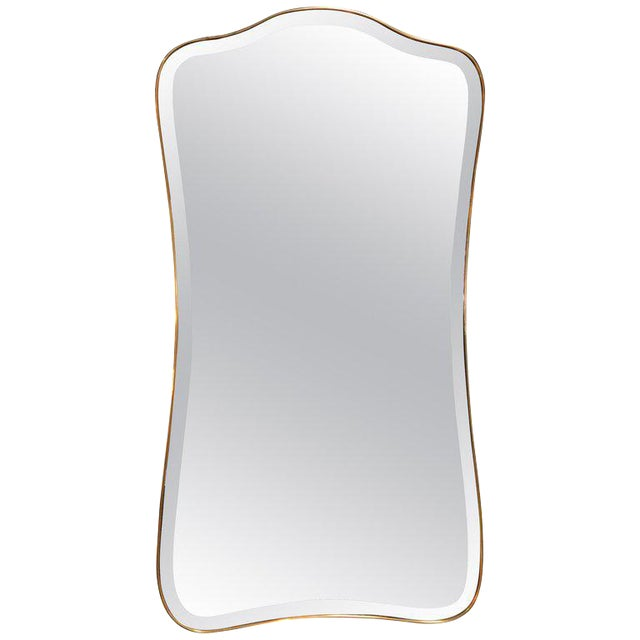 Giant Midcentury Italian Molded Wall Mirror, 1950s For Sale