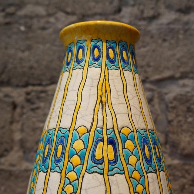 Art Deco 1920s Charles Catteau Three Color Patterned Vase For Sale - Image 3 of 7