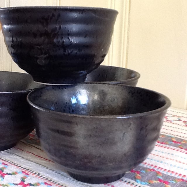 Black & Gray Pottery Bowls - Set of 4 - Image 4 of 11