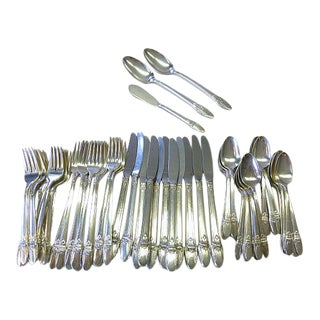 1847 Rogers Bros Art Deco First Love Silverplate Service for 11+ Flatware - 62 Piece For Sale