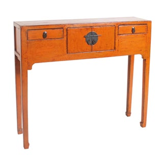 19th Century Orange Chinese Elmwood Scroll/Altar Table