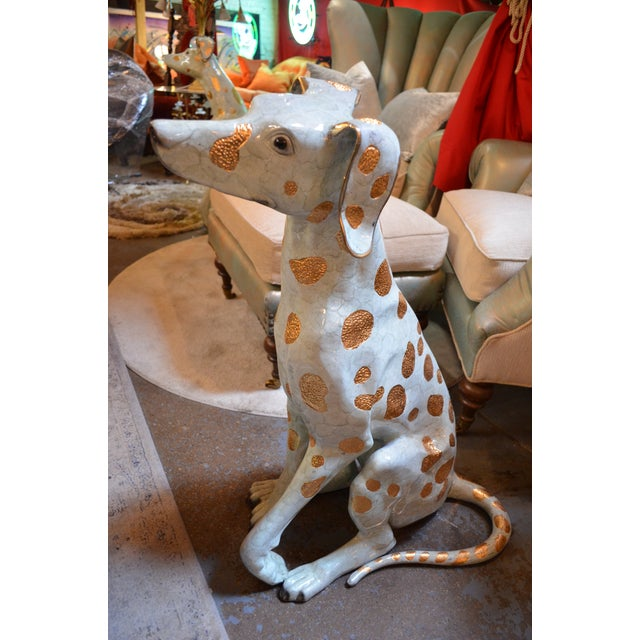 Contemporary Life Size Hand Made Glazed Old Lost Wax Bronze Dalmation Statue For Sale - Image 3 of 8