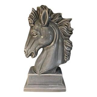 Modern Ceramic Blue Horse Bust Figurine For Sale