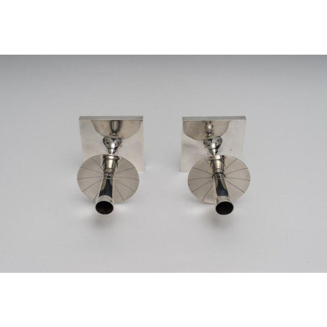 Tommi Parzinger Silver Plated Candlesticks by Tommy Parzinger - a Pair For Sale - Image 4 of 13