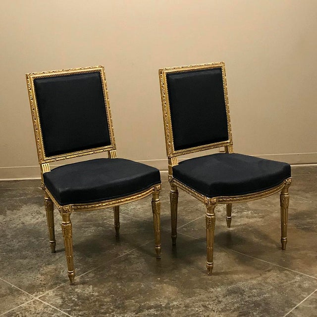 19th Century French Louis XVI Giltwood Chairs - a Pair For Sale - Image 4 of 13