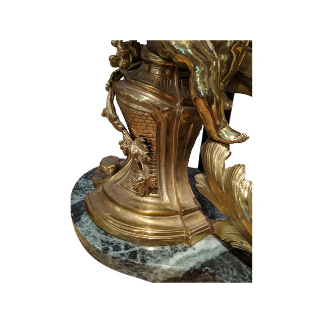 19th Century French Ormolu Chenet Lamps With Shades - a Pair For Sale - Image 10 of 13