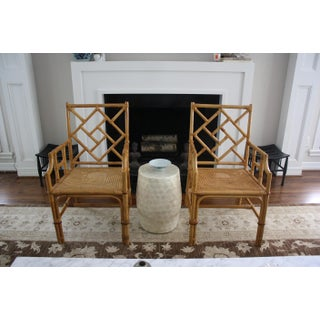 Vintage Palm Beach Style Bamboo Rattan Cane Chippendale Armchairs - a Pair Preview