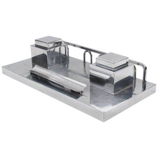 Jacques Adnet Modernist Art Deco Chrome Desk Double Inkwell For Sale
