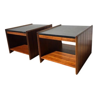 Mid Century Modern Lane Black Laminate & Walnut Cube End Tables - a Pair For Sale