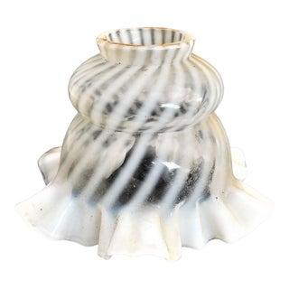 Antique Fenton Handblown Opalescent Swirl Glass Ruffled Edge Lamp Shade For Sale