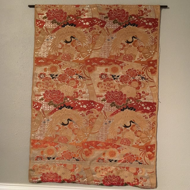 Asian Vintage Japanese Silk Wall Tapestry For Sale - Image 3 of 7