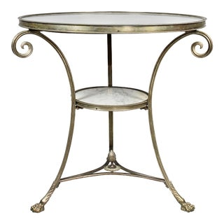 Antique Directoire Style Silvered Bronze and Marble Gueridon For Sale