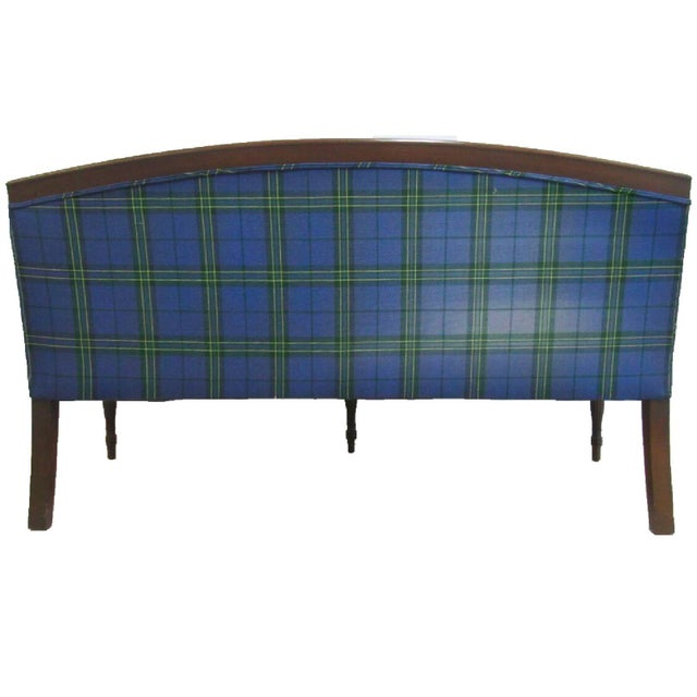 1990s Mid-Century Custom Plaid Mason-Art Ny Sheraton Mahogany Sofa For Sale - Image 5 of 7