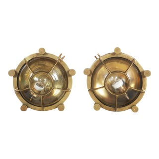 Factory Brass Wall Lamp, 1950s For Sale