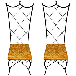 Pair of High Back Venetian Style Chairs by Samuel Copelon For Sale