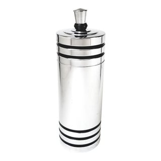 Art Deco Chase Gaiety Chrome Cocktail Shaker, With Black Enamel Stripes - Patented in 1933 For Sale