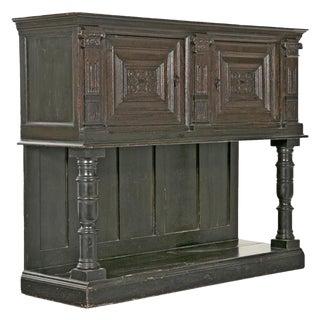 19th Century English Elizabethan Style Dark Stain Oak Cupboard For Sale