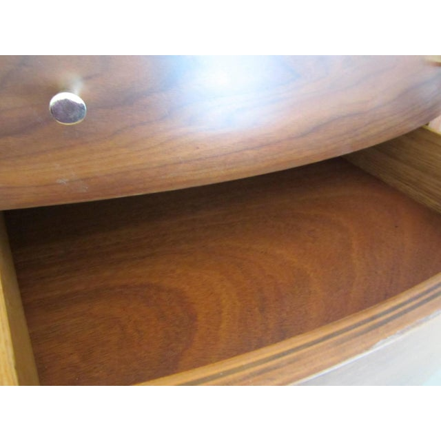 Walnut Curved Front Side Tables - A Pair - Image 4 of 4