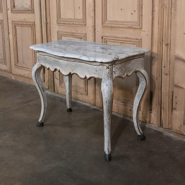 Gray 19th Century Swedish Painted Marble Top Console For Sale - Image 8 of 13