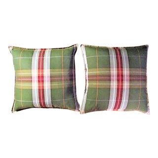 Pillow Textile in Plaid Fabric a Pair