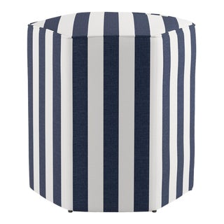 Hexagonal Ottoman in Navy Cabana Stripe For Sale