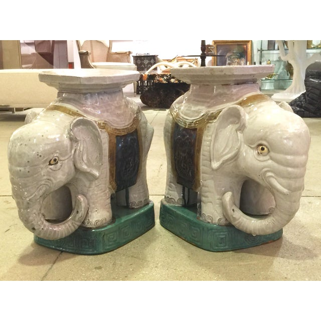 Ceramic Elephant Garden Stools - A Pair - Image 3 of 10