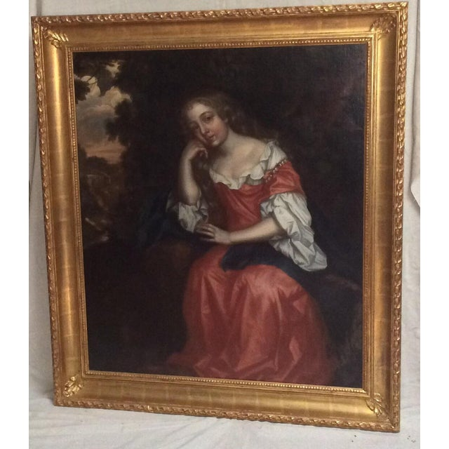 Black Antique Painting of a Young Woman For Sale - Image 8 of 11